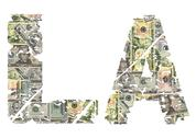La grunge text with dollars Stock Illustration