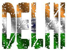 Stock Illustration of delhi grunge text with flag