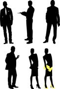 silhouettes of businessmen - stock illustration