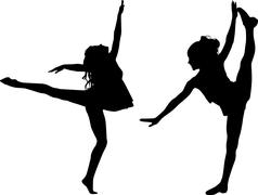 dancing silhouettes children - stock illustration