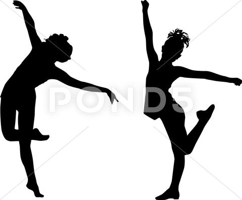 Stock Illustration of dancing silhouettes children