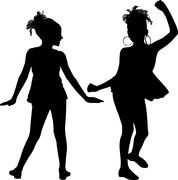 happy silhouettes children - stock illustration