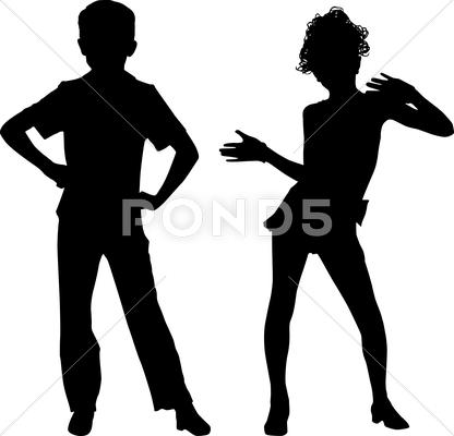 Stock Illustration of happy silhouettes children