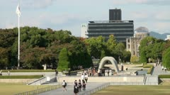 Atomic Bomb Dome and Peace Memorial Park, Japan Second World War monument Stock Footage