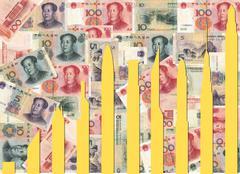 skyscraper graph on yuan - stock illustration