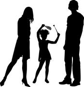 Silhouettes of happy family Stock Illustration