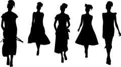fashion girls silhouettes - stock illustration