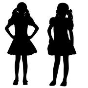 silhouettes of kids - stock illustration