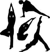 yoga and stretching - stock illustration