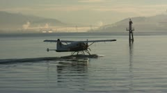 Seaplane Taxiing For Early Morning Takeoff - stock footage