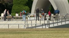 Zoom out of cenotaph at Peace Memorial Park in Hiroshima - stock footage