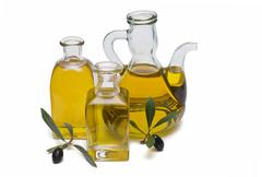 glass olive oil bottles. - stock photo