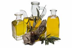 Classical olive oil containers. Stock Photos