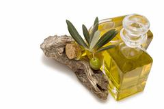 olive branch and oil. - stock photo