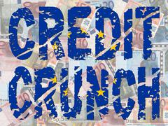 Credit crunch with eu flag Stock Illustration
