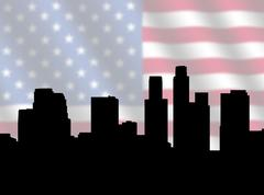 Los angeles skyline with flag Stock Illustration