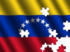 venezuela rippled flag jigsaw - stock illustration