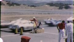 THE RACE BEGINS! Racetrack Auto Racing Cars 1960s Vintage Film Home Movie 5875 Stock Footage