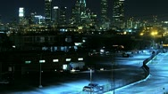 Timelapse Pan Reveal of Downtown Los Angeles at Night Stock Footage
