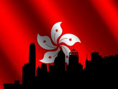 hong kong with rippled flag - stock illustration