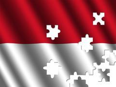 indonesia rippled flag jigsaw - stock illustration