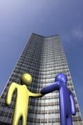 Handshake with skyscraper Stock Illustration