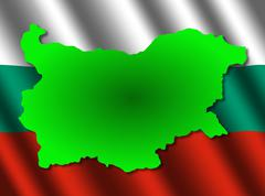 bulgaria map on rippled flag - stock illustration