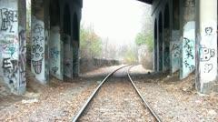 Graffiti Under Railroad Bridge Stock Footage