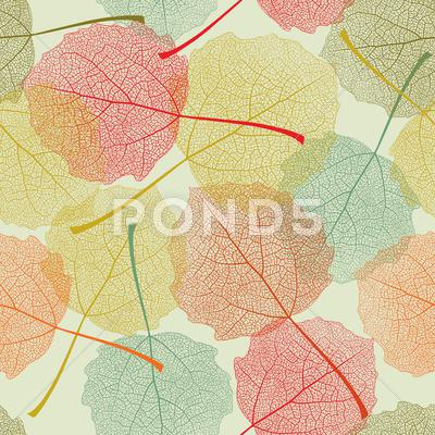 Stock Illustration of seamless colors leaves pattern