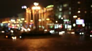 Red & white fires of cars in the city at night. Blurred time lapse Stock Footage