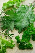 Variety of leafy vegetables Stock Photos