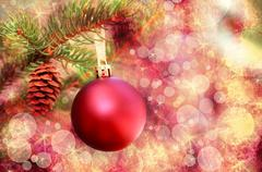 Christmas red ornament over abstract  lights background Stock Photos