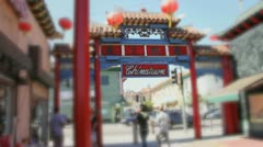 Los Angeles Chinatown Sign with Blurred Focus Stock Footage