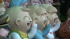 Crazy Laughing Ceramic Asian Children Stock Footage