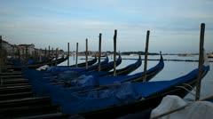 Beautiful Gondolas facing Church of San Giorgio Maggiore, in Venice, Italy Stock Footage