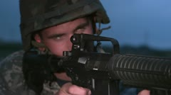 Soldier firing AR15 rifle Stock Footage