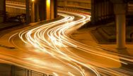 Traffic in city at night Stock Photos