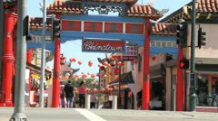 Los Angeles Chinatown Traffic Stock Footage