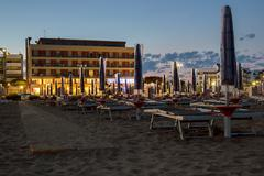 Night on the sandy beach in italy Stock Photos