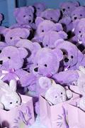 teddy bears and bunnie peluches - stock photo
