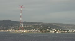 Coast of Sicily Messina radar and boat, medium shot Stock Footage