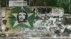 Che Guevara drawing on wall Stock Footage