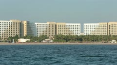 Mexican Riviera resort hotel from boat HD 4178 Stock Footage