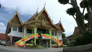 Buddhist Temple Entrance Decorated For Funeral Stock Footage