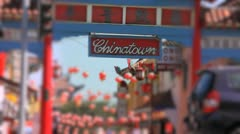 Chinatown Sign with Blurred Focus Stock Footage