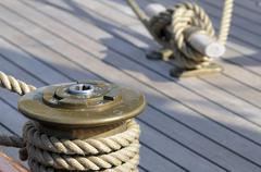 sailboat deck - stock photo