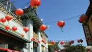 Chinese Lanterns Over Chinatown Street Stock Footage