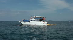 Party boat scuba snorkel swimming Mexico Pacific Ocean HD 0682 Stock Footage