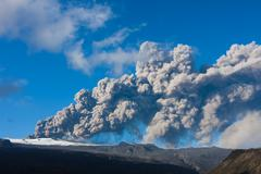 $erupting volcano, Eyjafjallajökull eruption in 2010 in Iceland - stock photo