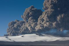 erupting volcano, Eyjafjallajökull eruption in 2010 in Iceland - stock photo